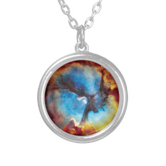 Trifid Nebula Colorful Hubble Outer Space Photo Silver Plated Necklace