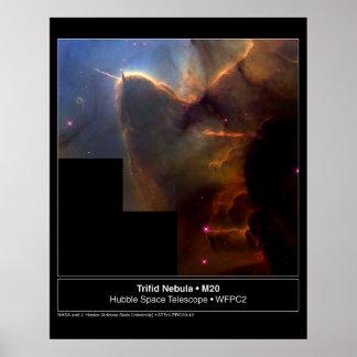 Trifid Nebula M20 Hubble Telescope Photo Poster