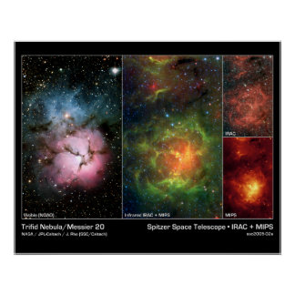 Trifid Nebula (Messier 20) – Spitzer Telescope Poster