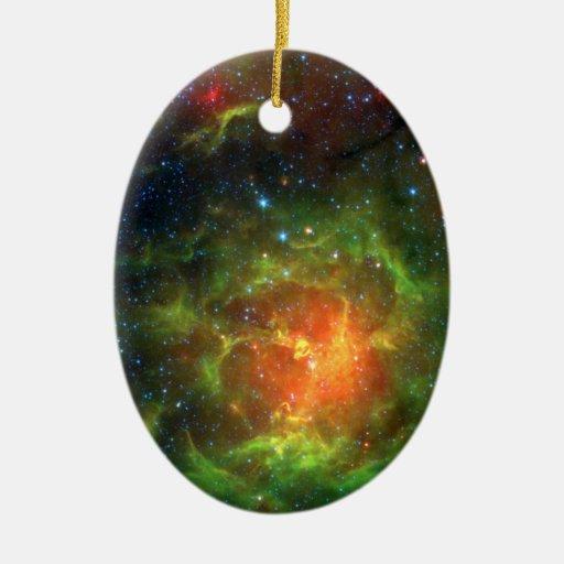 Trifid Nebula NASA Spitzer Christmas Tree Ornament