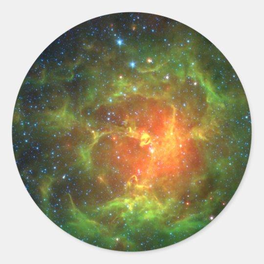 Trifid Nebula NASA Spitzer Classic Round Sticker
