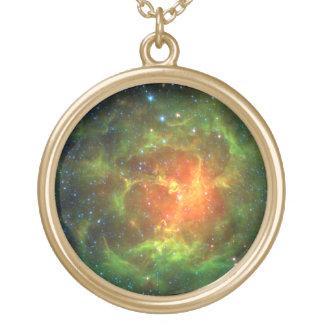 Trifid Nebula NASA Spitzer Gold Plated Necklace