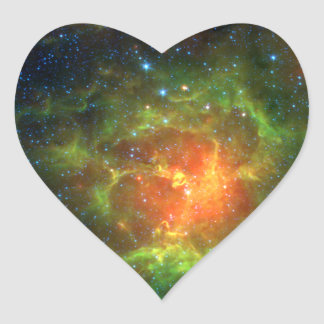 Trifid Nebula NASA Spitzer Heart Sticker