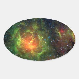 Trifid Nebula NASA Spitzer Oval Sticker