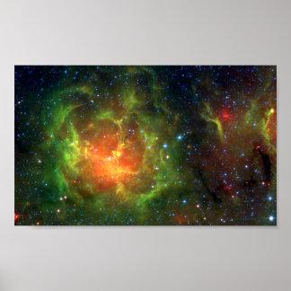 Trifid Nebula NASA Spitzer Poster