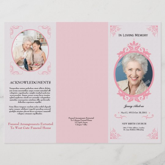 Trifold Funeral Program Template Zazzle Com