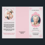 """Trifold Funeral Program Template Flyer<br><div class=""""desc"""">Floral funeral program/obituary that celebrates the life of a loved one.Edit any text with text tools.</div>"""