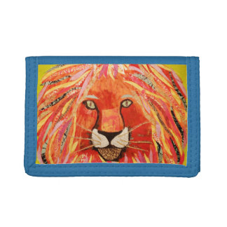 Trifold Nylon Wallet with Bold Lion