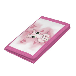 trifold nylon wallet with pink unicorn and hearts