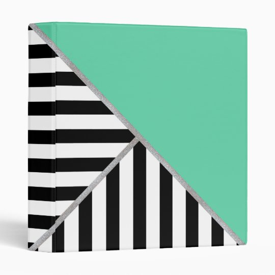 Trifold Teal and Stripes Binder