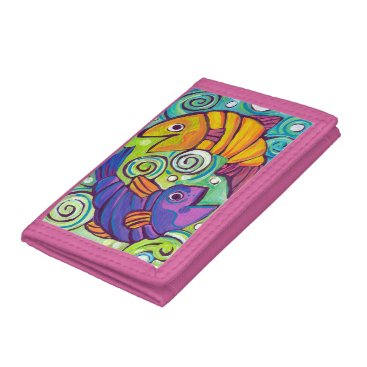 Beach Themed Trifold Two Fish pink wallet