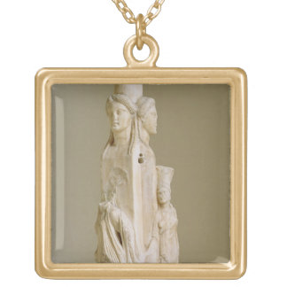 Triform Herm of Hecate, Marble sculpture, Attic pe Custom Necklace