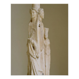 Triform Herm of Hecate, Marble sculpture, Attic pe Poster