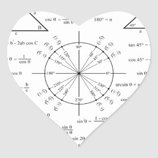 Trig & Triangles Heart Sticker
