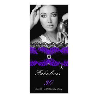 Trigésima fiesta de cumpleaños del negro púrpura f invitación personalizada