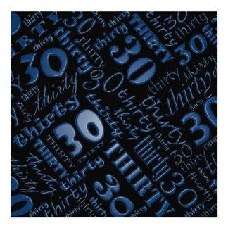Trigésima invitación azul y negra fresca de la fie