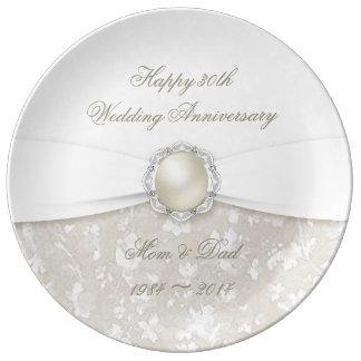 Trigésima placa de la porcelana del aniversario de platos de cerámica
