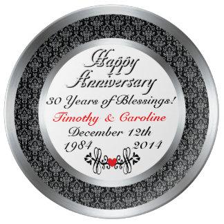 Trigésima placa personalizada de la porcelana del plato de cerámica