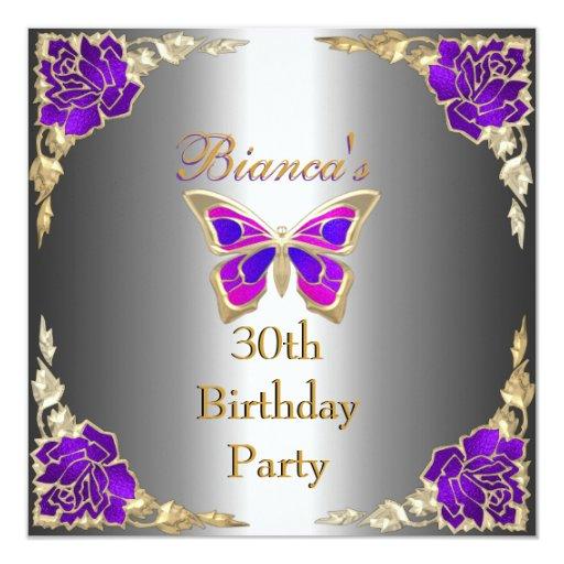 """Trigésima plata púrpura del oro de la fiesta de invitación 5.25"""" x 5.25"""""""