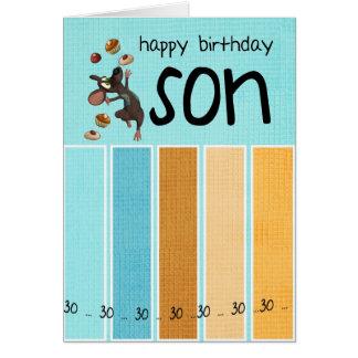 trigésima tarjeta de cumpleaños del hijo con la to