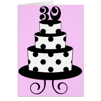Trigésima torta de cumpleaños del lunar tarjeta de felicitación