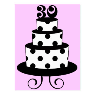 Trigésima torta de cumpleaños del lunar postal