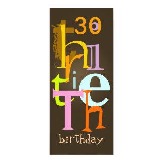 """Trigésimas invitaciones de la fiesta de cumpleaños invitación 4"""" x 9.25"""""""