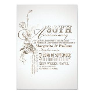 trigésimas invitaciones del aniversario de la invitación 12,7 x 17,8 cm