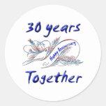 trigésimo. Aniversario Pegatina Redonda