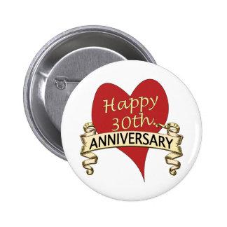 trigésimo. Aniversario Pin Redondo De 2 Pulgadas