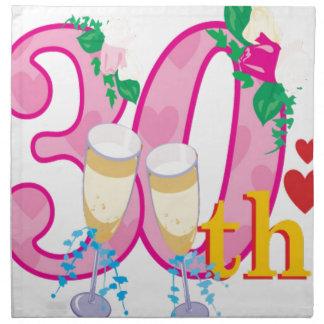 trigésimo aniversario servilleta imprimida