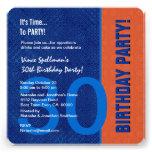 trigésimo Azul del cumpleaños y anaranjado moderno Invitaciones Personales