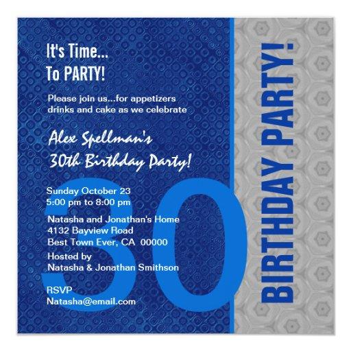 """trigésimo Azul del cumpleaños y de plata modernos Invitación 5.25"""" X 5.25"""""""