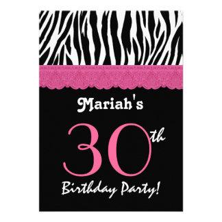 trigésimo Cebra negra rosada Ver del cumpleaños 4 Invitacion Personal