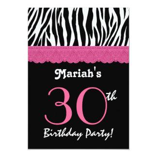 """trigésimo Cebra negra rosada Ver del cumpleaños 4 Invitación 5"""" X 7"""""""