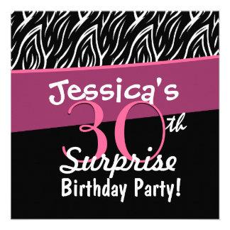 trigésimo Cebra rosada blanca X30 del negro del cu Invitación Personalizada