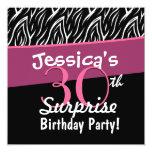 trigésimo Cebra rosada blanca X30 del negro del Invitación Personalizada