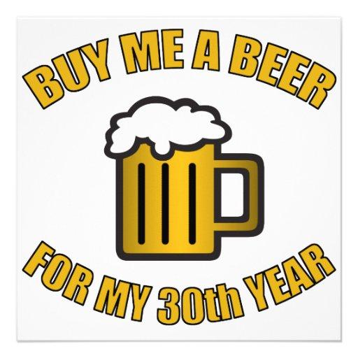 trigésimo Cerveza divertida del cumpleaños Anuncios Personalizados