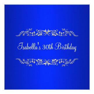 trigésimo Cobalto del cumpleaños y metal floral de Comunicados Personales