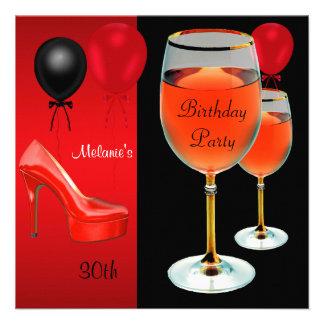 trigésimo Copa de vino roja de los talones de los Invitacion Personalizada