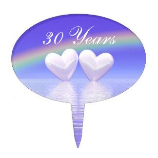 trigésimo Corazones de la perla del aniversario Decoraciones Para Tartas
