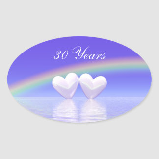 trigésimo Corazones de la perla del aniversario Pegatina Ovalada