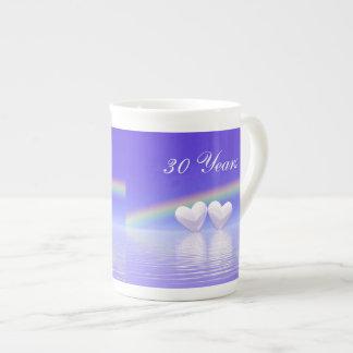 trigésimo Corazones de la perla del aniversario Tazas De Porcelana
