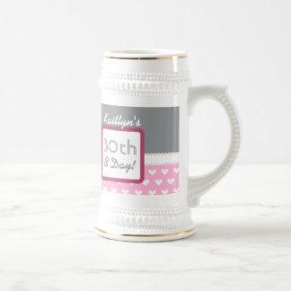 trigésimo Corazones grises y rosados B01 del Jarra De Cerveza