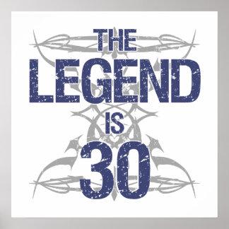 Trigésimo cumpleaños de la leyenda póster