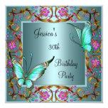 Trigésimo cumpleaños de la mariposa azul floral comunicado personalizado