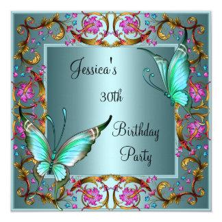 """Trigésimo cumpleaños de la mariposa azul floral invitación 5.25"""" x 5.25"""""""