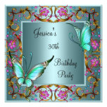 Trigésimo cumpleaños de la mariposa azul floral ro comunicado personalizado