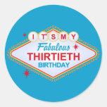 Trigésimo cumpleaños de Las Vegas Etiqueta Redonda