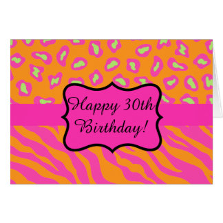 Trigésimo cumpleaños del leopardo rosado fucsia tarjeta de felicitación